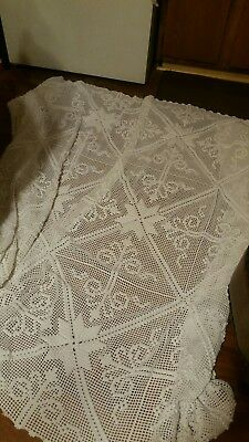 Crochet hand made twin/ large bed cover and square pillow case