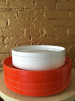 Heller LOT of 8 orange and white melamine plates ITALY Massimo Vignelli