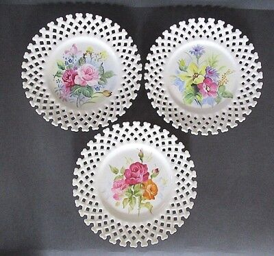"3 Lot Vintage Lefton China Plates Reticulated Lattice Rose & Floral 8.25"" - Mint"