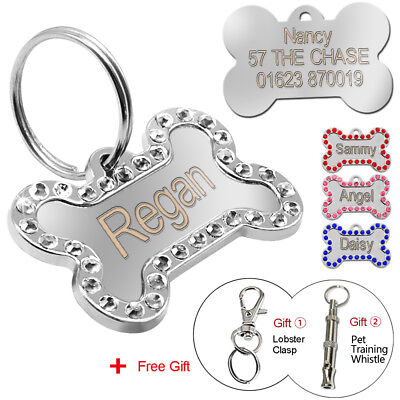 Bling Rhinestone Personalized Custom Dog Pet ID Tags Double Side Engraved