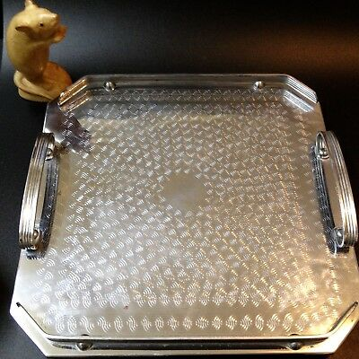 Art Deco Vintage - Square Handled Chrome Tray - Engine Turned Pattern, Aust Made