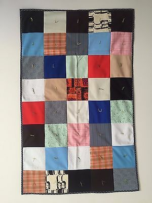 Vintage 1960's Hand Sewn Folk Art  Color Block Throw Blanket Baby Quilt