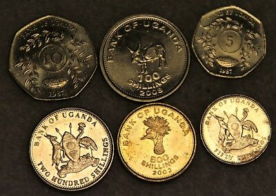 set of 6 different coins from UGANDA