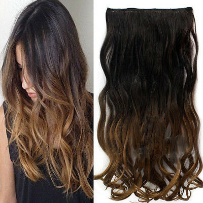 Long Synthetic Hair Clip Ombre Heat Resistant Curly Natural Wavy Secret Hair Wig