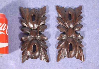 Pair of French Antique Carved Black Forest Medallions in Oak Wood