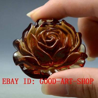 15g 100% Natural Blood Red Burmite Amber Stone Hand-carved Peony Pendant G13