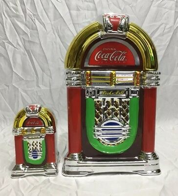VTG Coca-Cola Rock'n Roll JukeBox Shaped Cookie Jar & Salt/Pepper Shakers Gibson