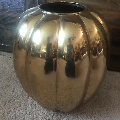 Very Thick Heavy Nice Brass Fluted Melon Vase