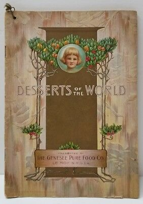 1909 JELLO Recipe DESSERTS OF THE WORLD Beautiful Lithograph Pages