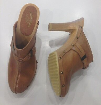 BRAND NEW Vintage 70's Natural Tan Leather High Heel Slip On Clogs 8