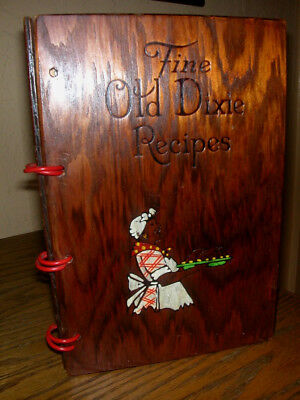Rare! SOUTHERN COOKBOOK of FINE OLD DIXIE RECIPES w/ WOOD COVERS 1935 Ist print