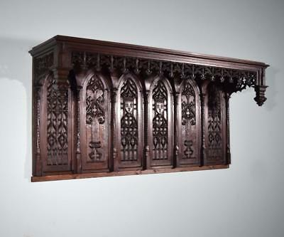 "*79"" French Antique Gothic Pediment/Crown/Tester Bed Headboard in Oak Wood"