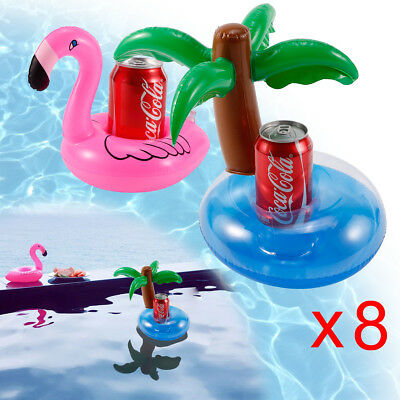 8 Flamingo Palm Swimming Pool Inflatable Drink Can Beer Holder Summer Party Boat