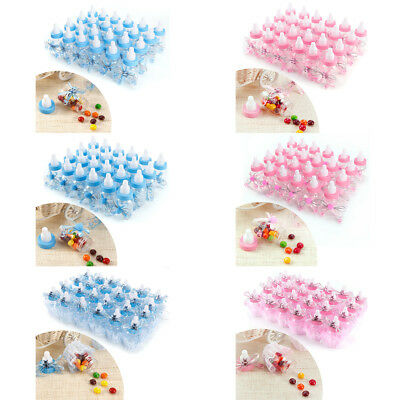 24 Fillable Bottles Sweet Candy Boxes Baby Shower Baptism Party Table Decor