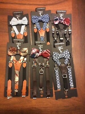 Genevieve goings suspender & bow tie set toddler & boys new