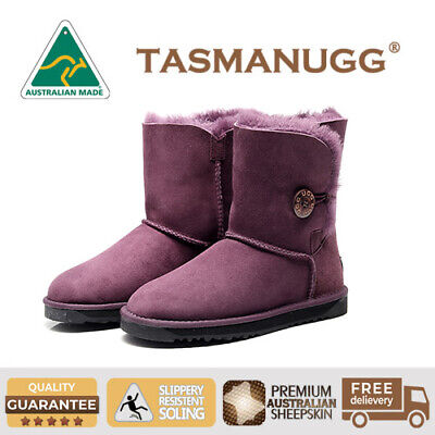 Tasman-Short Button UGG Boots,Australian Made,Premium Aus Sheepskin,Purple Cl