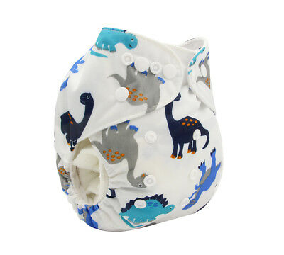 New Reusable Modern Cloth Nappy MCN + FREE insert – Grey and Blue Dinosaurs