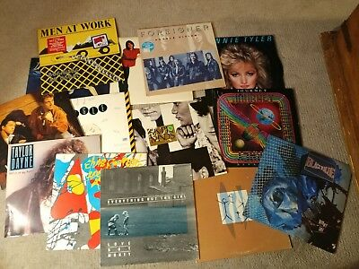 Lot of 14 80s Original Vinyl Records Journey simple Minds Men at Work Costello