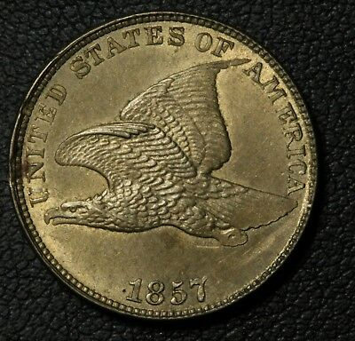 1857 Flying Eagle Cent Penny - Beautiful Coin w/ Luster! - Small Obverse Scratch