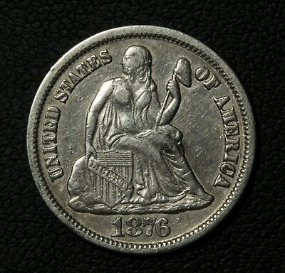 1876 CC Seated Liberty Silver Dime - Carson City!