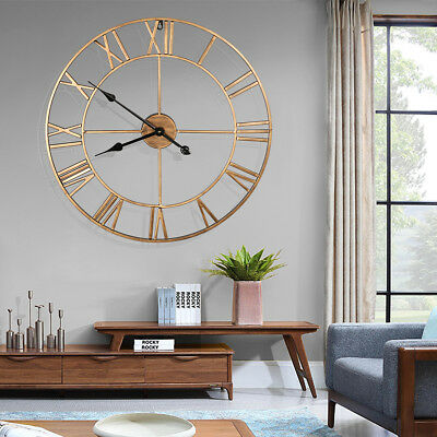 Outdoor Large Roman Wall Clock Round Face Big Metal Roman Numerals Home Garden