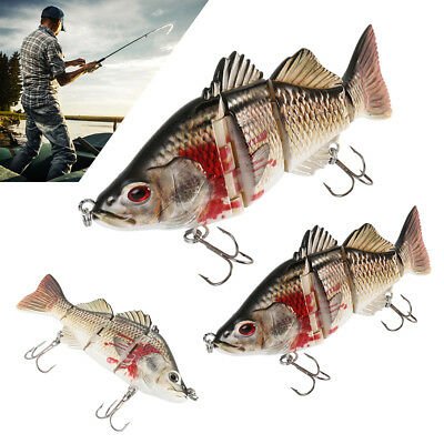 4 Sections Multi Jointed Fishing Lure Minnow Crank Baits Bass Life-like Swimbait