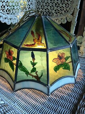 1970s hanging stained glass  lamp mid century