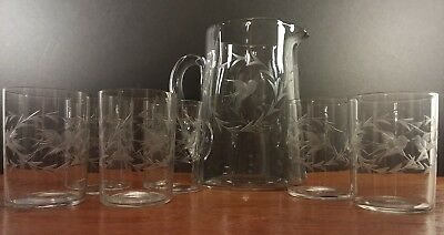 Antique Bird Etched Glass Pitcher & 6 Matching Short Tumbler Glasses 1910-1919