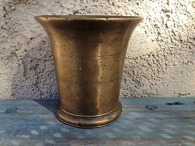 Antique Apothecary Mortar, Heavy Solid Bell Bronze, Lost-Wax Casting