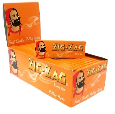 Full Box of 50 Booklets Zig Zag Liquorice Cigarette Rolling Papers