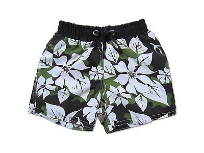 Kids Shorts Board Shorts Hawai Green&brown + White Flowers Boys Girls Summer