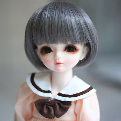 Grey Short Straight Doll Wig BJD hair Wire 1/3 1/4 1/6 Wig Temperature No Babies