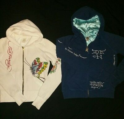 Ed Hardy Hoodies lot of 2 Youth L Womens XS