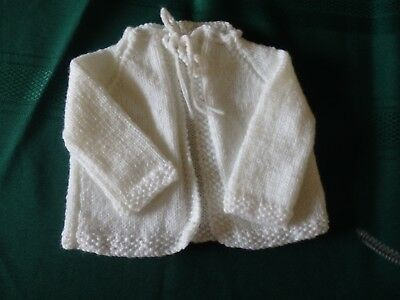 NEW - hand knitted baby matinee jacket - 0000 new born - white