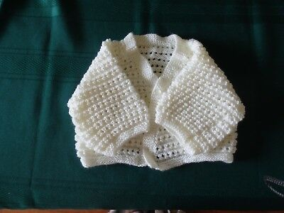 NEW - Hand knitted baby matinee jacket white