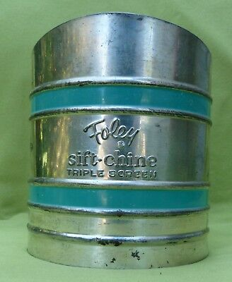Vintage Foley Sift-Chine Triple Screen Sifter Turquoise Double Band Works