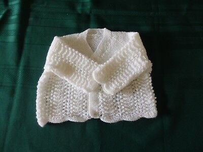 NEW - Hand Knitted delicate matinee jacket - white 000
