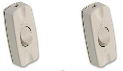 5 X Inline Table Lamp Light Switch White cable On Off 2 Amp 240V Torpedo Rocker