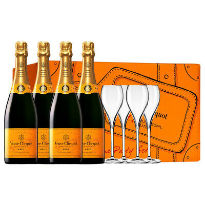 Veuve Clicquot Party Pack (inc 4 bottles-4 Flutes)