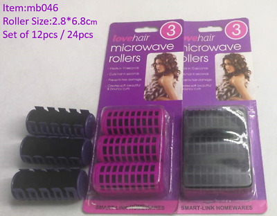 12/24 pcs Hair Microwave Rollers Hot Hair Roller style hair rollers inc Clips