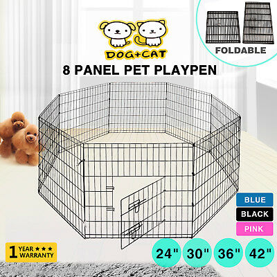 "New 24""30""36""42"" 8 Panel Pet Playpen Dog Cage Kennel Crate Metal Enclosure Fence"