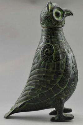 Asia Collectible Decorated Old Handwork Bronze Carved Owl Big Pot
