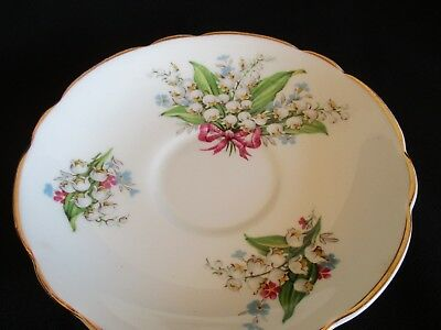 Vintage pretty Lily of the Valley Regency English china  saucer