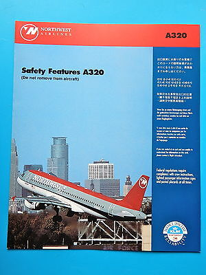 Northwest Airlines Safety Card--Airbus 320