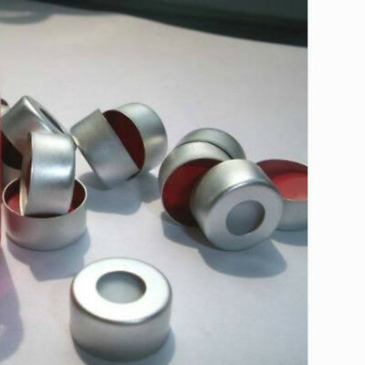 Aluminum Silver Crimp Seals with Clear PTFE/Red Rubber Septum, Cap Size 11mm
