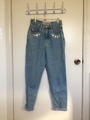 High Waisted Vintage Embroidered Jeans