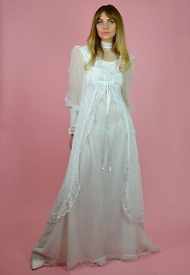 Vintage 70s White Bohemian Lace WEDDING Alternative Steam Punk Boho Bride Dress