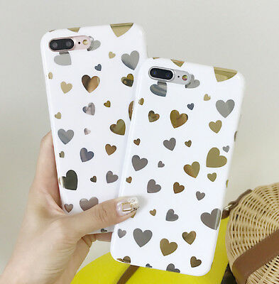 Gilding lovely Heart Soft Silicone Full  Back case for iphone 6 6s 7 8 plus X