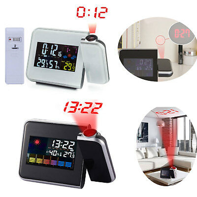 LED Projection Digital Weather LCD Snooze Alarm Clock Color Display Backlight US