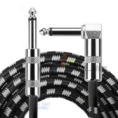 2x 10FT 3M Guitar Lead Right Angle Jack Noiseless Braided Tweed Instrument Cable